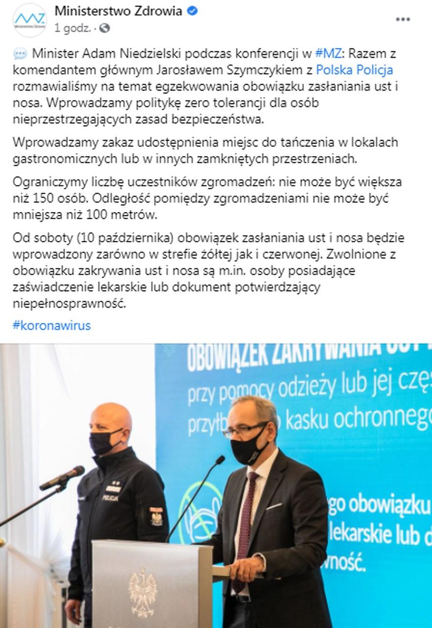 Minister Zdrowia obowiazek noszenia masek